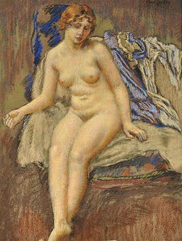 a sitting female nude by karel spillar