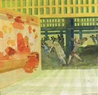 incident in a museum, no. 2 (+ train leaving new mexico, lrgr; 2 works) by leonard rosoman