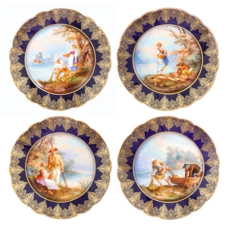 decorated plates with couple design 4 pieces by limoges  sc 1 st  Artnet & DECORATED PLATES WITH COUPLE DESIGN 4 PIECES by Limoges on artnet