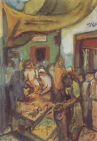 figures at the market by aharon avni
