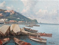 fishing vessels on the neapolitan coast (pair) by fortunato fontana