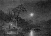 fishermen in a nocturnal landscape by felix kreutzer