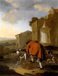 ein jäger mit seinen hunden vor häusern in einer südlichen landschaft sich einen schuh bindend by antonius leemans