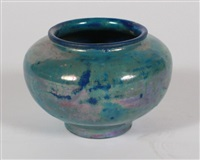 iridescent pottery vase by pewabic pottery