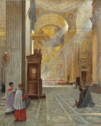 andacht in st. peter, rom by hans kolitz