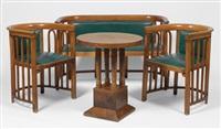3-teilige sitzgarnitur (+ runder tisch auf 4 säulenbeinen) by mundus