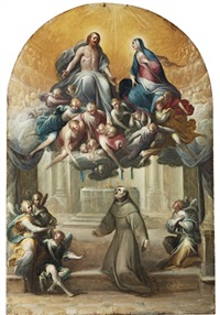 the resurrected christ and the madonna with angels by giovanni andrea (il mastelletta) donducci