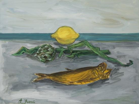 natura morta sulla spiaggia con aringa carciofo e limone by achille funi