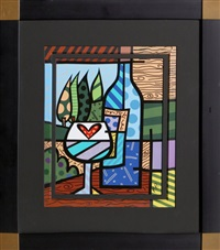 wine wine blue by romero britto