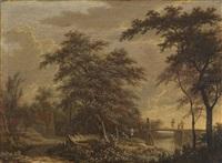 bewaldete landschaft mit wanderern auf einem steg by adriaen hendricksz. verboom