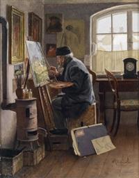 der maler in seinem atelier by adolf reich