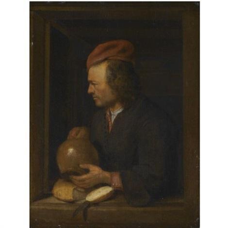 study of a man holding a pitcher by pieter cornelisz van slingeland