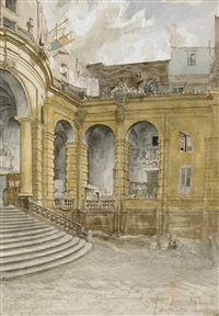 forecourt of a church, naples by john arthur malcolm aldridge