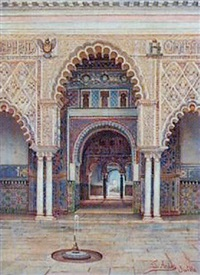 interior of a moorish palace, seville by josé arias