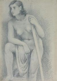 nudo sostenuto dal bastone by achille funi