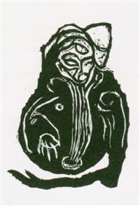 3 blatt aus aus der serie im inneren frisst das helle das dunkle (3 works) by carsten nicolai