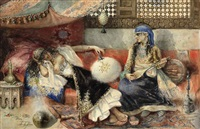 two women in an arab interior by antonio rivas