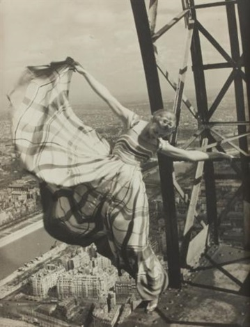 lisa fonssagrives on the eiffel tower paris by erwin blumenfeld