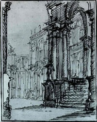 atrio con edifici porticati: schizzo per scenografia by filippo juvara