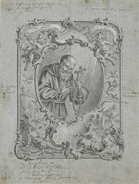 s. seraphinus - der heilige mit kreuz und rosenkranz in reich ornamentierter kartusche mit figürlichen und architektonischen elementen by vitus felix rigl
