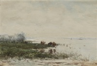 river landscape with cattle by jan vrolijk
