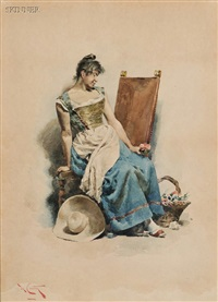 the flower seller (+ posadera espagnole (the spanish hostess); 2 works) by angelo comte de courten
