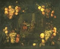 guirnalda de flores con cristo en casa de levi by franciscus (frans) van eyckens