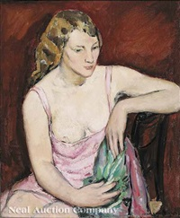 young woman in pink by anne wilson goldwaite