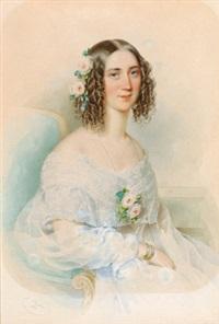 dame in weißem kleid und rosen im haar by leopold fischer