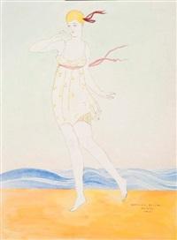 danseuse au bord de la mer (+ danseuse au bord de la mer, etching, smllr; 2 works) by ismael smith