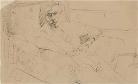 portrait of robert colquhoun in an armchair by robert macbryde
