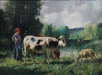 jeune bergère et son troupeau by julien dupré