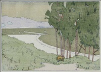 sailboats in a wooded coast by frank morley fletcher