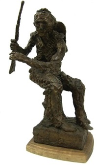 seated cowboy with rifle by hugh cabot