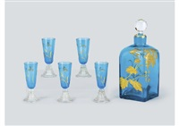 japonism liqueur set (set of 5 cups and 1 decanter) by baccarat
