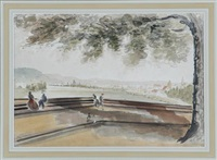 park scene overlooking reservoir by james madison alden