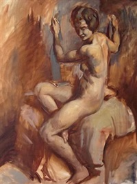 seated nude by victor hume moody