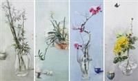 梅兰竹菊 (in 4 parts) by qiu yue, qiu hao and ji shuwen