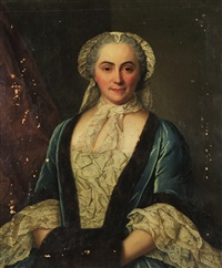 femme à la robe bleue bordée de fourrure, voilette sur la tète et magistrat en habit (pair) by french school (18)