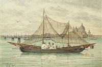 venedig, fischerboote vor santa maria della salute by josef erwin von lippert