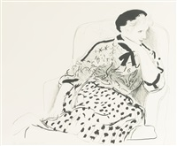 celia in an armchair (m.c.a.t. 239) by david hockney