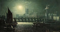the palace of westminster in the moonlight by ansdele smythe