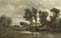 a polder landscape with a vessel near a farm by jan willem van borselen