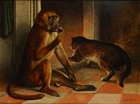 aap en poes bij het vuur by joseph schippers