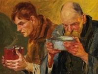 zwei essende männer (+ study, verso) by f. viktor kosak