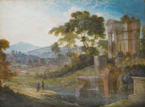two landscapes with classical ruins a with two figures conversing to the left b with boats drawn up to the shore 2 works by pierre antoine patel