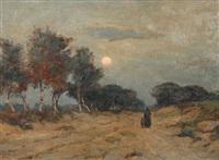 personnages se promenant à la fagne au coucher de soleil by louis albert roessingh
