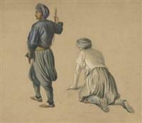 studie zweier orientalischer männer by eugen adam