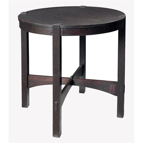 lamp table, #644 by gustav stickley