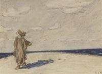 frau am strand by ludwig von hofmann